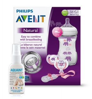 Avent sada Natural 260ml PP slon fialová+Aquaint